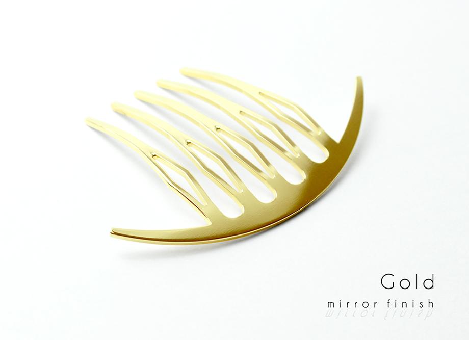 【女性への贈り物に人気】三代目板金屋 ステンレス KANZASHI~Arc Liner combかんざし 全三色 ゴールド