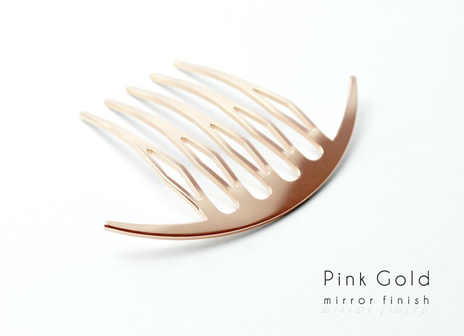 【女性への贈り物に人気】三代目板金屋 ステンレス KANZASHI~Arc Liner combかんざし 全三色 ピンクゴールド