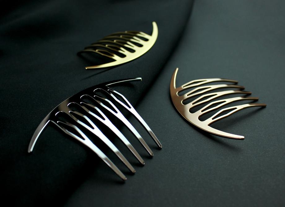 【女性への贈り物に人気】三代目板金屋 ステンレス KANZASHI~Arc Liner combかんざし 全三色