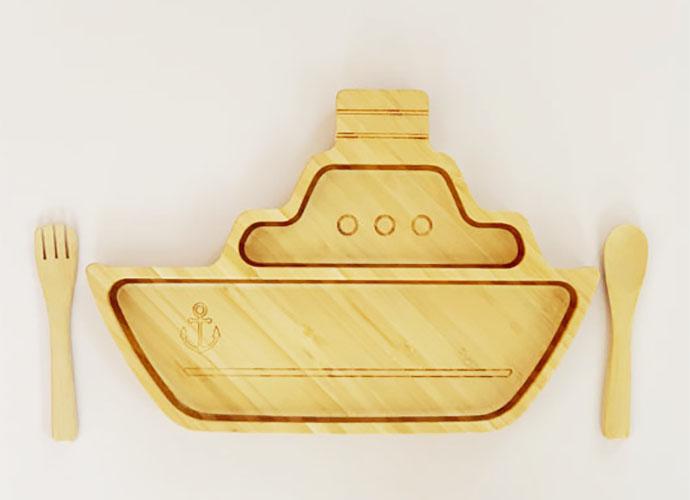 ご出産祝いプレゼントにおすすめ♪シッププレートセット 日本製竹食器 名入れ可