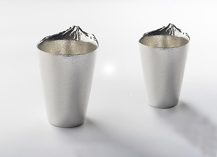 【結婚祝いにおすすめ】錫製ビールグラス 泡雲 ペアセット~高岡銅器の錫製酒器~