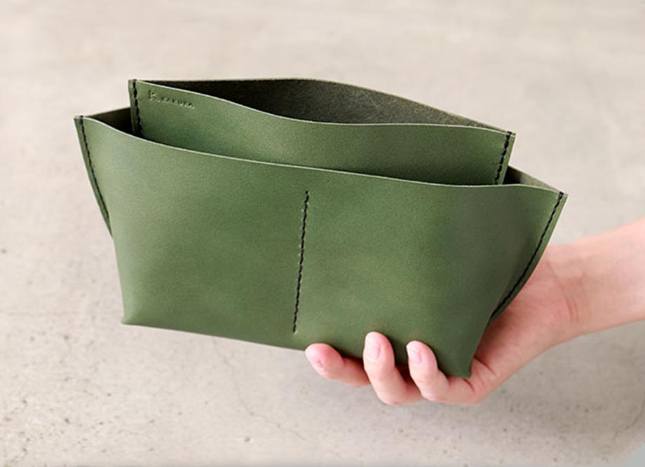 【おしゃれな革小物】5レザーポケット ~上質な牛革のバッグインバッグ S、L 松葉~ 名入れ可