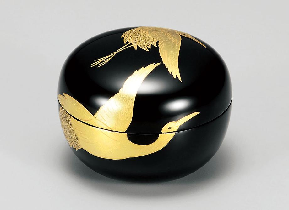 【長寿祝いに最適】越前漆器  箔蒔絵  玉匣(たまくしげ) 黒 金箔鶴 〜名入れ可〜日本の伝統工芸品