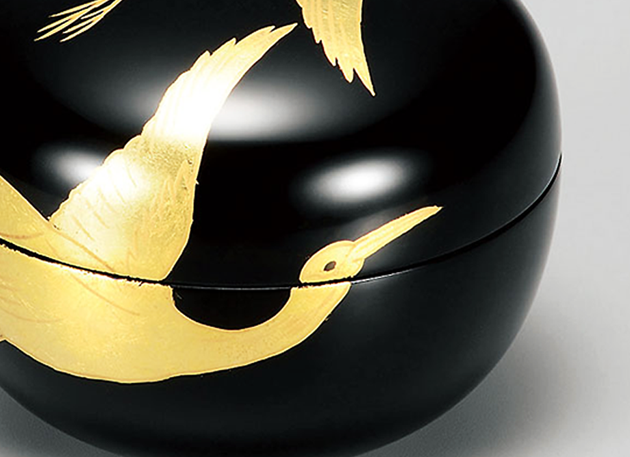 【越前漆器】箔蒔絵 玉匣(たまくしげ) 黒 金箔鶴 〜名入れ可〜日本の伝統工芸品 詳細
