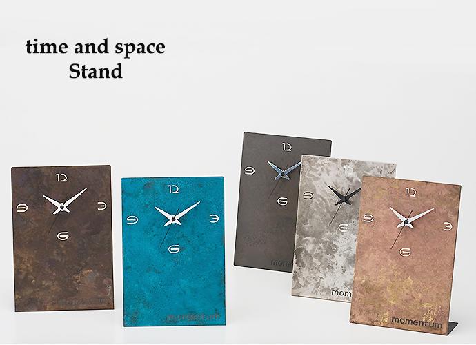 法人向け高級ノベルティ 真鍮の置き時計:time and space(スタンド大)~高岡銅器の伝統工芸品~