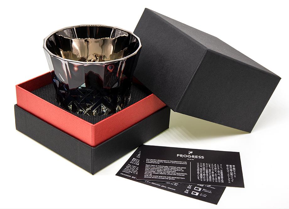 【男性への贈り物に人気】ジュエリーロックグラス PROGRESS(SunFly)高級チタングラス・Rex Series 高級感のあるギフトボックス