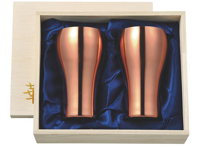 メイドイン燕三条のタンブラー 華 タンブラー 300ml 銅ミラー 桐箱ペアセット