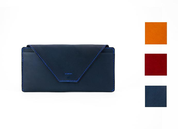 プレゼントにおすすめ!シンプルなフラップ長財布 ~上質な日本製革小物~ 名入れ可