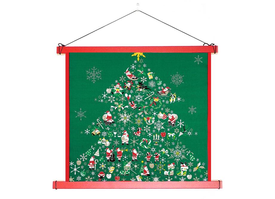 【壁掛け風呂敷におすすめ】日本製 小風呂敷用 木製タペスタリー棒 ~職人の手仕事 クリスマスの風呂敷
