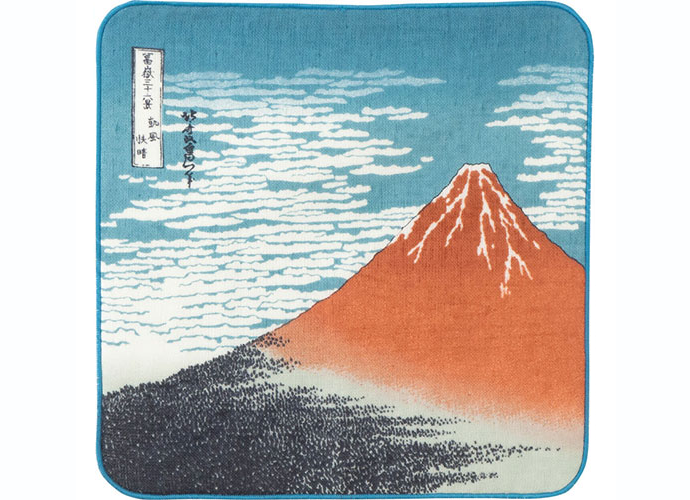 【プチギフトにおすすめ】浮世絵 ガーゼタオルハンカチ 赤富士 葛飾北斎