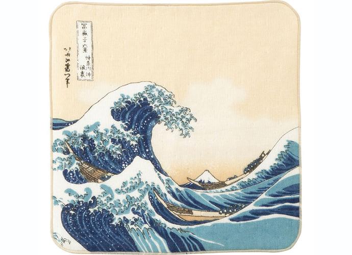 【プチギフトにおすすめ】浮世絵 ガーゼタオルハンカチ 浪裏に富士 葛飾北斎