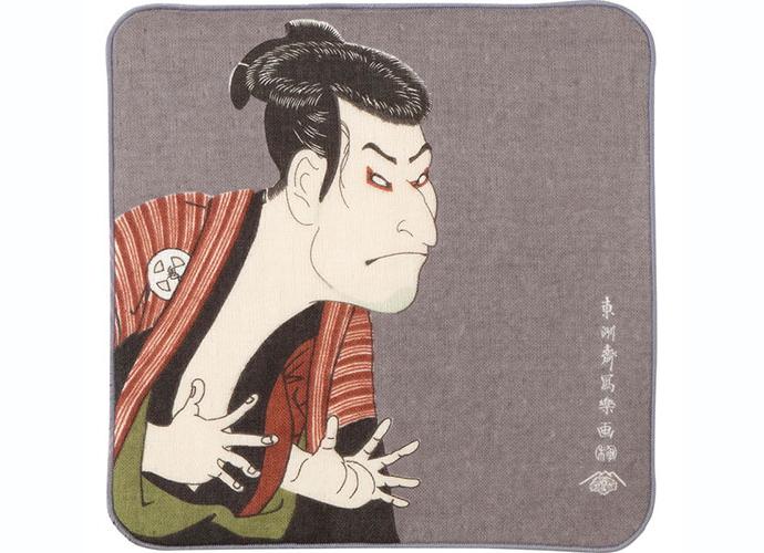 【プチギフトにおすすめ】浮世絵 ガーゼタオルハンカチ 写楽 東洲斎写楽