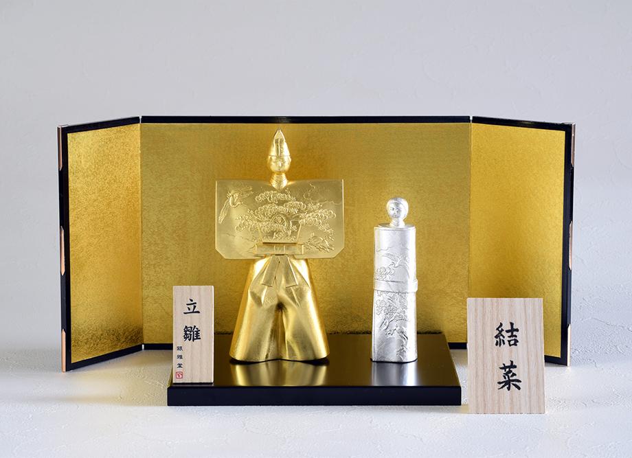 桃の節句におすすめ!日本製 立ち雛 ~高岡銅器のインテリア~ ※木札名入れ可能 屏風セット